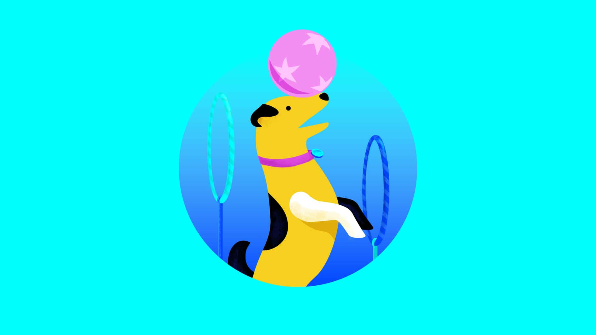 Illustration of a dog doing a trick